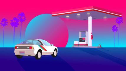 super neon tropic gas station