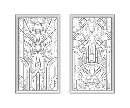 Art deco panels isolated on white background