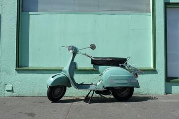 Fotorolgordijn Scooter Turquoise overload