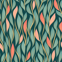 Seamless vector floral pattern with abstract leaves and branches in pink and blue colors on dark background