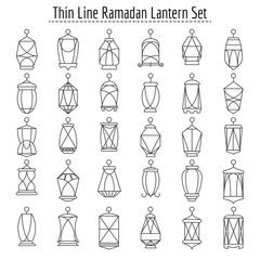 Line lanterns. Thin linear ramadan lantern icons, outline ramadhan kareem islamic lights on white