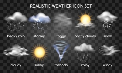 Fototapeta Realistic weather icons set isolated on transparent background. Vector set with type of weather