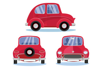 Papiers peints Cartoon voitures Red retro car. Cartoon automobile set in three different views: Side - Front - Back view. Cute vehicle with round headlights with driver, passenger silhouettes on white background. Flat cartoon vector
