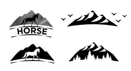 Set of black icons. Horse, mountain, forest