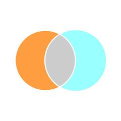 Venn maths vector diagram, color modern icon - white background