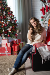 Teen girl in the room for Christmas
