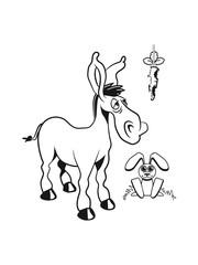 Fotobehang Cartoon draw esel witzig karotte hasecool tier muli lustig natur vierbeiner muli grautier einfarbig