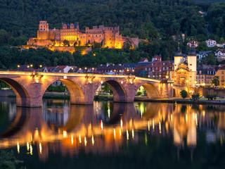 Heidelberg Alte Brücke und Schloss am Abend