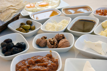 Traditional Mediterranean breakfast with rich variety