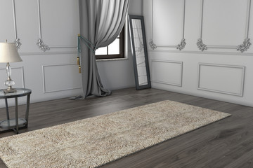 Modern İnterior with curtain and carpet, for your furniture, bed, empty space