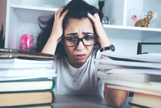 sad student and books