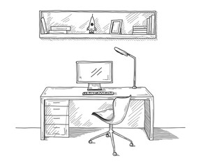 Sketch the room. Office chair, desk, various objects on the tabl