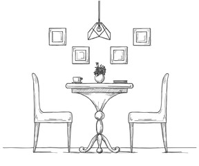 Part of the dining room. Round table and chairs. On the table vase of flowers. Hand drawn sketch.Vector illustration