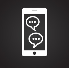 Smartphone chat on black background icon