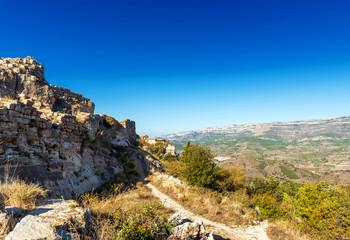 Rocky landscape in Siurana, Tarragona, Catalunya, Spain. Copy space for text.