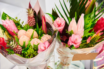 Wallpaper, beautiful bouquet with ginger flowers