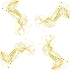 Abstract Structural Curved Pattern. Beige Lines and Golden Waves. 3D Illustration