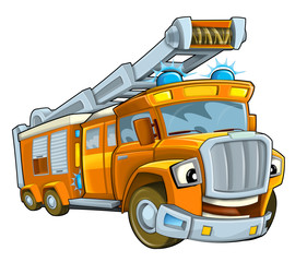 Cartoon happy and funny cartoon bus looking and smiling - illustration for children