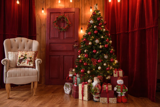 Christmas interior with gift boxes and Christmas fires. It can be used as a background