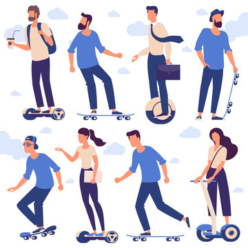 men and women with hoverboards and skates