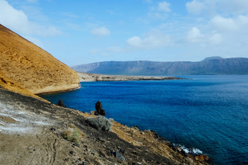 the view from the southern part of the island with nice seascape of the ocean and in the background Lanzarote island