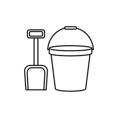 Sand Bucket And Shovel Icon Trendy Modern Flat Linear Vector