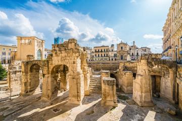 Ancient Roman Amphitheatre in Lecce, Puglia region, southern Italy Wall mural