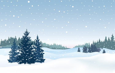 Christmas snowy background. Snow winter landscape. Retro Merry C