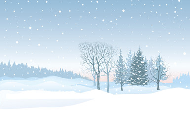 Christmas snowfall background. Snow winter landscape. Merry Chri