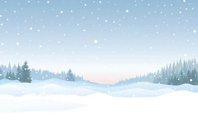 Christmas snowfall background. Snow winter landscape. Merry Christmas skyline.