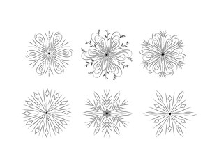 set of different snowflakes