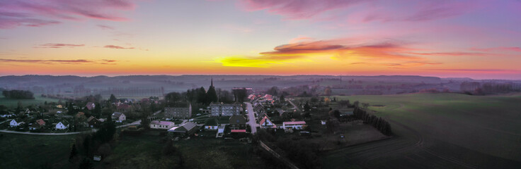 panoramic aerial view of a small village - beautiful sunset