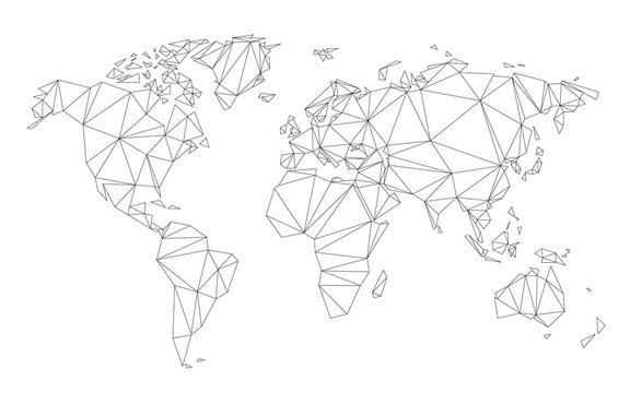 Polygonal world map vector simplified to triangular lines on white background.