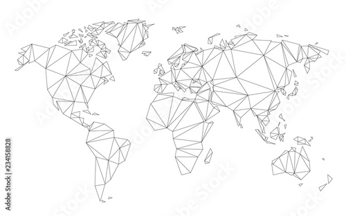 Globe connected with network of lines on black background vector