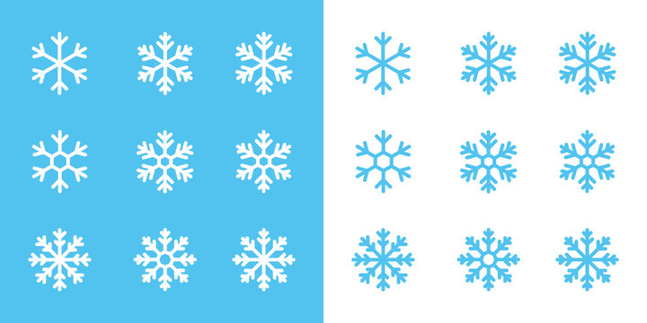 snowflake line icons on blue and white background