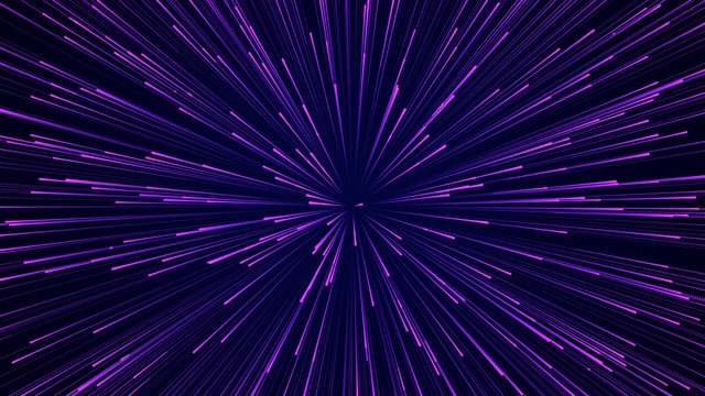 Abstract circular speed background. Starburst dynamic lines pattern. Abstract data flow background. 3D rendering.