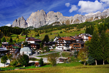 Panoramic view of Cortina d'Ampezzo in autumn colours, also known as the Pearl of the Dolomites, Italy, Europe