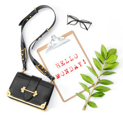 Fashion flat lay social media Notepad green leaf white background