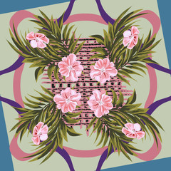 Square flower arrangement. Pattern for printing on scarves, postcards, carpets, bandanas, napkins, home textiles. Delicate pink flowers, palm leaves and wicker fabric. Flower vector background.