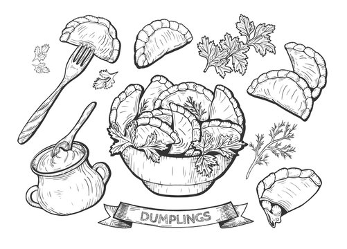 dumplings set illustration