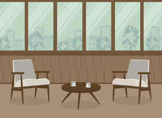 Two white armchairs and a coffee table on a window background. Interior of balcony-loggia with wooden walls. Vector illustration