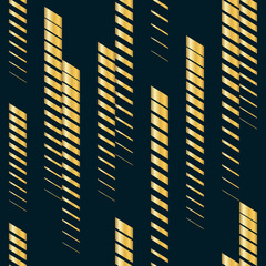 Vector geometric seamless pattern with golden vertical fading lines, stripes