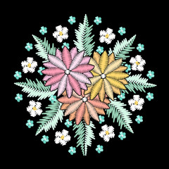Round embroidered decorative composition. Needlework illustration. Daisy flower motive. EPS 10 vector embroidery fashion design template.
