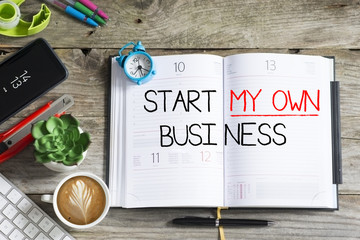 Start my own business decision written on personal agenda, goal or resolution for the new year