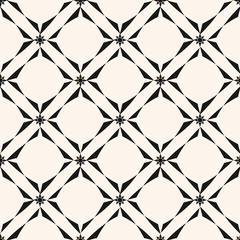 Geometric grid seamless pattern. Vector black and white abstract background
