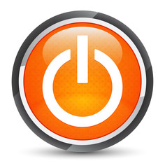 Power icon galaxy orange round button