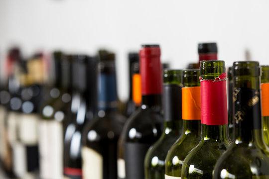 Empty glass wine bottles,