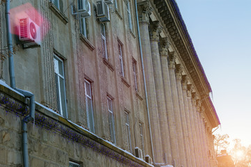 The facade of the administrative building at dawn, toned