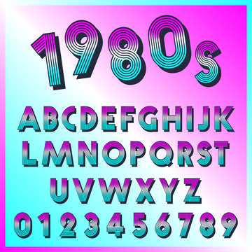 80s retro font template. Set of letters and numbers lines vintage design