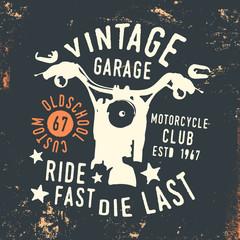 Motorcycle club - vintage garage t shirt print stamp